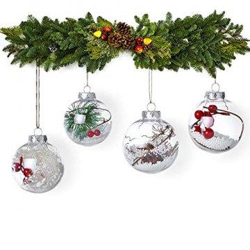 Warmiehomy 5 x Christbaumkugeln aus klarem Glas befüllbare Ornamente für Weihnachten Party Geburtstag Hochzeit Dekoration, Glas, farblos, 10cm - 2