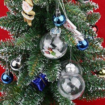 Warmiehomy 5 x Christbaumkugeln aus klarem Glas befüllbare Ornamente für Weihnachten Party Geburtstag Hochzeit Dekoration, Glas, farblos, 10cm - 3