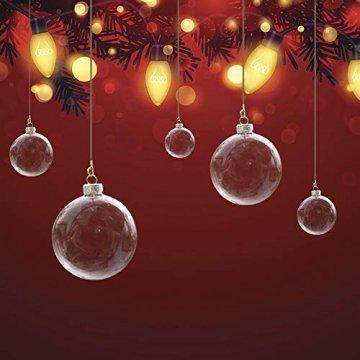 Warmiehomy 5 x Christbaumkugeln aus klarem Glas befüllbare Ornamente für Weihnachten Party Geburtstag Hochzeit Dekoration, Glas, farblos, 10cm - 4