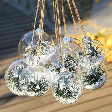 Warmiehomy 5 x Christbaumkugeln aus klarem Glas befüllbare Ornamente für Weihnachten Party Geburtstag Hochzeit Dekoration, Glas, farblos, 10cm - 6