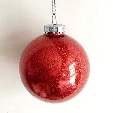 Warmiehomy 5 x Christbaumkugeln aus klarem Glas befüllbare Ornamente für Weihnachten Party Geburtstag Hochzeit Dekoration, Glas, farblos, 10cm - 7