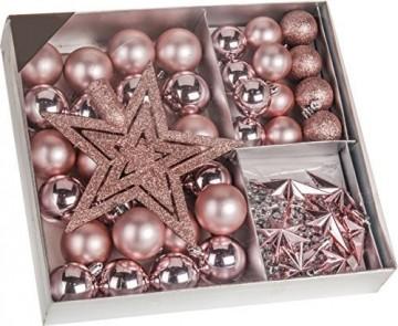 Weihnachtsbaumschmuck Set - 45 teilig in Rosatönen - 36 Kugeln, Weihnachtsbumspitze, Dekosterne und Kette - 1