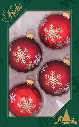 Weihnachtskugeln Christbaumkugeln 4er Pack Kugeln rot mit Schneesternen mundgeblasener Baumschmuck aus Glas mit Ø ca. 6,5 cm - 1