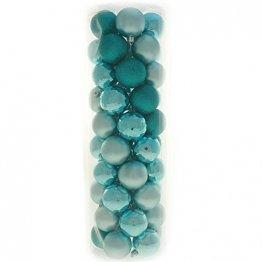 WeRChristmas Bruchsichere Christbaumkugeln, farblich aufeinander abgestimmtes Set mit 50 Stück Türkis/Blau - 1