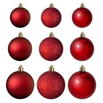 Wohaga® 70 Stück Weihnachtskugeln inkl. Transportbox Christbaumkugeln Baumschmuck Weihnachtsbaumschmuck Baumkugeln-Set, Farbe:Rot - 2