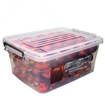 Wohaga® 70 Stück Weihnachtskugeln inkl. Transportbox Christbaumkugeln Baumschmuck Weihnachtsbaumschmuck Baumkugeln-Set, Farbe:Rot - 1