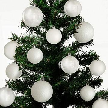 Wohaga® 70 Stück Weihnachtskugeln inkl. Transportbox Christbaumkugeln Baumschmuck Weihnachtsbaumschmuck Baumkugeln-Set, Farbe:Weiss - 3