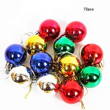 Wohlstand 72-teilig Weihnachtskugel-Set Weihnachtskugeln Baumschmuck Weihnachten Deko Anhänger modisch Glänzend Bruchsiche Weihnachtskugeln Winter Wünsche Weihnachten - 1