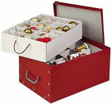 XXL Dekokarton in Rot - formschön und hochwertig. Mit Einsätzen für max. 40 Christbaumkugeln oder Weihnachtsdeko. Karton aus stabiler Pappe in Rot mit Griffen aus Kunststoff! Topp - 1