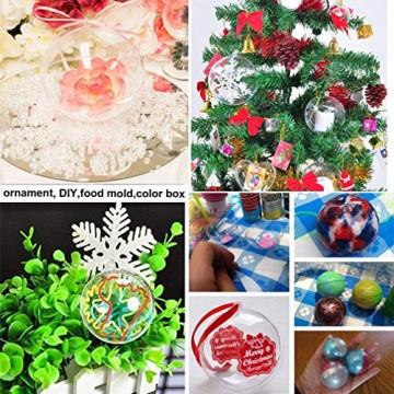 Yeelan Klar Kunststoff Acryl Fillable Transparente Kugel Kugel Christbaumkugel Ornament für Hochzeit Weihnachten Wohnkultur (40mm, Set von 19 stücke) - 7