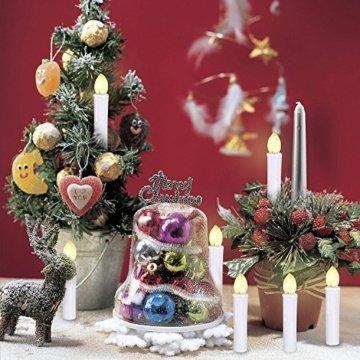 10/20/ 30/40 er Weinachten LED Kerzen Lichterkette Kerzen Weihnachtskerzen Weihnachtsbaum Kerzen mit Fernbedienung Kabellos (Beige, 20er) - 7