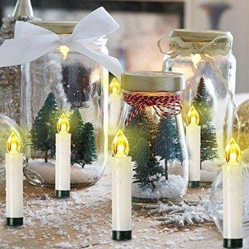 10/20/ 30/40 er Weinachten LED Kerzen Lichterkette Kerzen Weihnachtskerzen Weihnachtsbaum Kerzen mit Fernbedienung Kabellos (Beige, 30er) - 7