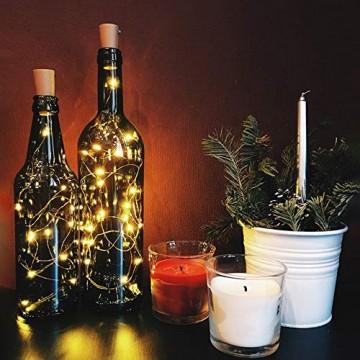 10 Pack LED Flaschenlicht Deko - 2M 20 LED Lichterkette Batterie, Led Korken mit LED Lichterkette für Flasche, Tischdeko Geburtstag, Weihnachten, Hochzeit, Valentinstag, Dekoration Wohnung - 3