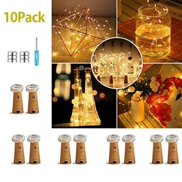 10 Pack LED Flaschenlicht Deko - 2M 20 LED Lichterkette Batterie, Led Korken mit LED Lichterkette für Flasche, Tischdeko Geburtstag, Weihnachten, Hochzeit, Valentinstag, Dekoration Wohnung - 1
