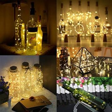 10 Pack LED Flaschenlicht Deko - 2M 20 LED Lichterkette Batterie, Led Korken mit LED Lichterkette für Flasche, Tischdeko Geburtstag, Weihnachten, Hochzeit, Valentinstag, Dekoration Wohnung - 5