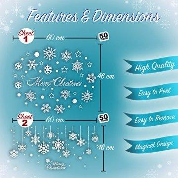 100er Set Schneeflocken Weihnachtsdeko Fenster Bilder – Statisch Haftende PVC Aufkleber Als Fensterdeko Mit Schneekristallen Und Weihnachten Schneesternen – Wiederverwendbar Mit 50mm Durchmesser - 2