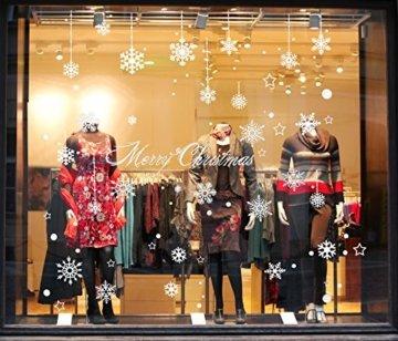 100er Set Schneeflocken Weihnachtsdeko Fenster Bilder – Statisch Haftende PVC Aufkleber Als Fensterdeko Mit Schneekristallen Und Weihnachten Schneesternen – Wiederverwendbar Mit 50mm Durchmesser - 3