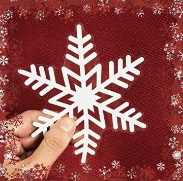 100er Set Schneeflocken Weihnachtsdeko Fenster Bilder – Statisch Haftende PVC Aufkleber Als Fensterdeko Mit Schneekristallen Und Weihnachten Schneesternen – Wiederverwendbar Mit 50mm Durchmesser - 4