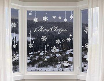 100er Set Schneeflocken Weihnachtsdeko Fenster Bilder – Statisch Haftende PVC Aufkleber Als Fensterdeko Mit Schneekristallen Und Weihnachten Schneesternen – Wiederverwendbar Mit 50mm Durchmesser - 1