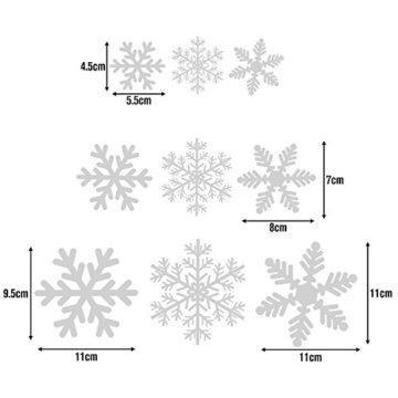 108 Fensterdeko Schneeflocken Schneeflocken Fensterbilder Abnehmbare Fensterdeko Statisch Haftende PVC Aufkleber für Weihnachts-Fenster Dekoration, Türen ,Schaufenster, Vitrinen, Glasfronten - 3