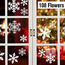 108 Fensterdeko Schneeflocken Schneeflocken Fensterbilder Abnehmbare Fensterdeko Statisch Haftende PVC Aufkleber für Weihnachts-Fenster Dekoration, Türen ,Schaufenster, Vitrinen, Glasfronten - 1