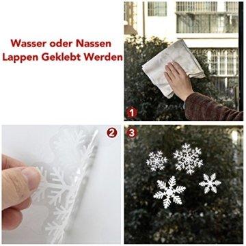 108 Fensterdeko Schneeflocken Schneeflocken Fensterbilder Abnehmbare Fensterdeko Statisch Haftende PVC Aufkleber für Weihnachts-Fenster Dekoration, Türen ,Schaufenster, Vitrinen, Glasfronten - 4