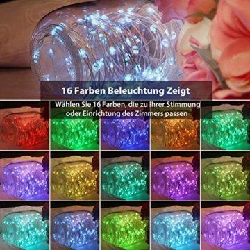 10M 100er Bunt Lichterkette Batterie & USB, 132 Modi 16 Farben LED Lichterkette Außen, Kupferdraht Lichterkette Dimmbar Wasserdicht IP65 mit Fernbedienung für Garten, St. Patrick's Day,Geburtstag Deko - 4