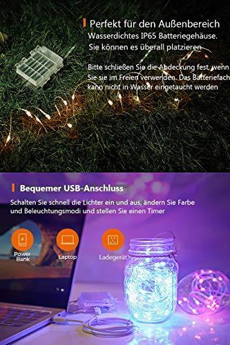 10M 100er Bunt Lichterkette Batterie & USB, 132 Modi 16 Farben LED Lichterkette Außen, Kupferdraht Lichterkette Dimmbar Wasserdicht IP65 mit Fernbedienung für Garten, St. Patrick's Day,Geburtstag Deko - 6