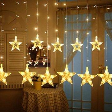 12 Sterne LED Lichtervorhang Lichterkette für Innen/Außen, 2.2x1M Afufu 108LED Sternenvorhang Warmweiß, wasserdicht nach IP65, Fernbedienung mit 8 Leuchtmodi, Weihnachtsdeko für Fenster Garten Zimmer - 3