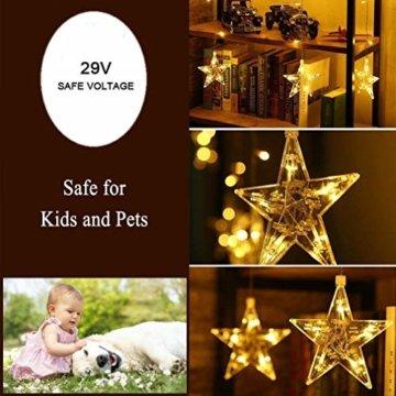 12 Sterne LED Lichtervorhang Lichterkette für Innen/Außen, 2.2x1M Afufu 108LED Sternenvorhang Warmweiß, wasserdicht nach IP65, Fernbedienung mit 8 Leuchtmodi, Weihnachtsdeko für Fenster Garten Zimmer - 4