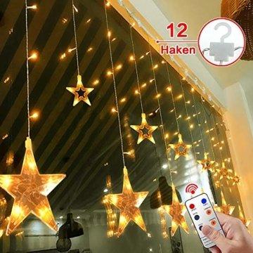 12 Sterne LED Lichtervorhang Lichterkette für Innen/Außen, 2.2x1M Afufu 108LED Sternenvorhang Warmweiß, wasserdicht nach IP65, Fernbedienung mit 8 Leuchtmodi, Weihnachtsdeko für Fenster Garten Zimmer - 1