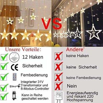 12 Sterne LED Lichtervorhang Lichterkette für Innen/Außen, 2.2x1M Afufu 108LED Sternenvorhang Warmweiß, wasserdicht nach IP65, Fernbedienung mit 8 Leuchtmodi, Weihnachtsdeko für Fenster Garten Zimmer - 5
