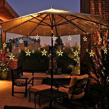 12 Sterne LED Lichtervorhang Lichterkette für Innen/Außen, 2.2x1M Afufu 108LED Sternenvorhang Warmweiß, wasserdicht nach IP65, Fernbedienung mit 8 Leuchtmodi, Weihnachtsdeko für Fenster Garten Zimmer - 8