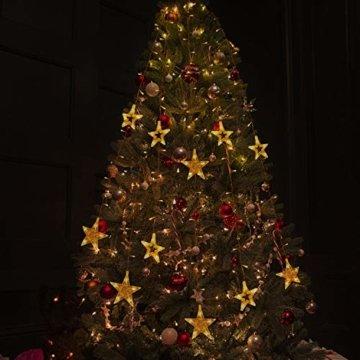 12 Sterne LED Lichtervorhang Lichterkette für Innen/Außen, 2.2x1M Afufu 108LED Sternenvorhang Warmweiß, wasserdicht nach IP65, Fernbedienung mit 8 Leuchtmodi, Weihnachtsdeko für Fenster Garten Zimmer - 9