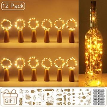 (12 Stück) Flaschenlicht Batterie, kolpop 2m 20 LED Glas Korken Licht Kupferdraht Lichterkette für flasche für Party, Garten, Weihnachten, Halloween, Hochzeit, außen/innen Beleuchtung Deko (Warmweiß) - 1