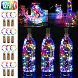 12 Stück LED Flaschenlicht, BIG HOUSE 20 LEDs 2M Lichterkette Kupferdraht batteriebetriebene Weinflasche Lichter mit Kork Schnurlicht für DIY Deko Weihnachten Party Urlaub Stimmungslichter(Mehrfarbig) - 1