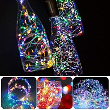 12 Stück LED Flaschenlicht, BIG HOUSE 20 LEDs 2M Lichterkette Kupferdraht batteriebetriebene Weinflasche Lichter mit Kork Schnurlicht für DIY Deko Weihnachten Party Urlaub Stimmungslichter(Mehrfarbig) - 6