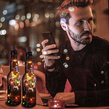 12 Stück LED Flaschenlicht, BIG HOUSE 20 LEDs 2M Lichterkette Kupferdraht batteriebetriebene Weinflasche Lichter mit Kork Schnurlicht für DIY Deko Weihnachten Party Urlaub Stimmungslichter(Mehrfarbig) - 8