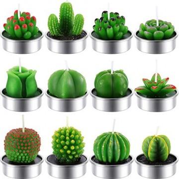 12 Stücke Kaktus Teelicht Kerzen Handgefertigt Zart Saftig Kaktus Kerzen für Party Hochzeit Spa Dekoration Geschenke (Stil C) - 1