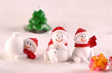 13 Stück Harz Miniatur Garten Figuren Weihnachten Mini Ornamente Set für Fee Garten Deko Weihnachtsdeko Bonsai Puppenhaus Zuhause Tisch Dekoration Landschaft DIY Zubehör Schneemann Weihnachtsmann Baum - 2