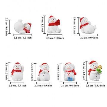 13 Stück Harz Miniatur Garten Figuren Weihnachten Mini Ornamente Set für Fee Garten Deko Weihnachtsdeko Bonsai Puppenhaus Zuhause Tisch Dekoration Landschaft DIY Zubehör Schneemann Weihnachtsmann Baum - 3