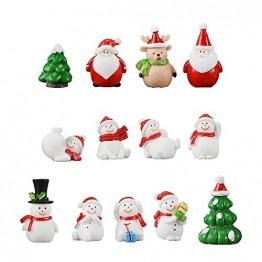 13 Stück Harz Miniatur Garten Figuren Weihnachten Mini Ornamente Set für Fee Garten Deko Weihnachtsdeko Bonsai Puppenhaus Zuhause Tisch Dekoration Landschaft DIY Zubehör Schneemann Weihnachtsmann Baum - 1