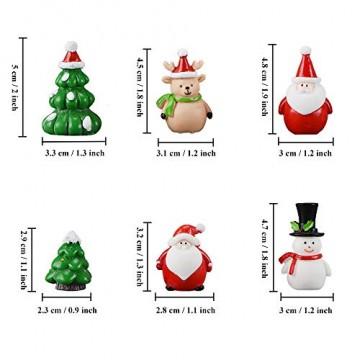 13 Stück Harz Miniatur Garten Figuren Weihnachten Mini Ornamente Set für Fee Garten Deko Weihnachtsdeko Bonsai Puppenhaus Zuhause Tisch Dekoration Landschaft DIY Zubehör Schneemann Weihnachtsmann Baum - 4