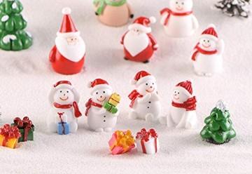 13 Stück Harz Miniatur Garten Figuren Weihnachten Mini Ornamente Set für Fee Garten Deko Weihnachtsdeko Bonsai Puppenhaus Zuhause Tisch Dekoration Landschaft DIY Zubehör Schneemann Weihnachtsmann Baum - 5