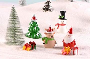 13 Stück Harz Miniatur Garten Figuren Weihnachten Mini Ornamente Set für Fee Garten Deko Weihnachtsdeko Bonsai Puppenhaus Zuhause Tisch Dekoration Landschaft DIY Zubehör Schneemann Weihnachtsmann Baum - 6