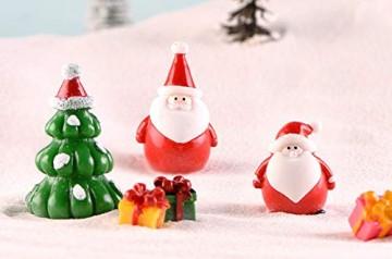13 Stück Harz Miniatur Garten Figuren Weihnachten Mini Ornamente Set für Fee Garten Deko Weihnachtsdeko Bonsai Puppenhaus Zuhause Tisch Dekoration Landschaft DIY Zubehör Schneemann Weihnachtsmann Baum - 7