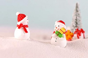 13 Stück Harz Miniatur Garten Figuren Weihnachten Mini Ornamente Set für Fee Garten Deko Weihnachtsdeko Bonsai Puppenhaus Zuhause Tisch Dekoration Landschaft DIY Zubehör Schneemann Weihnachtsmann Baum - 8
