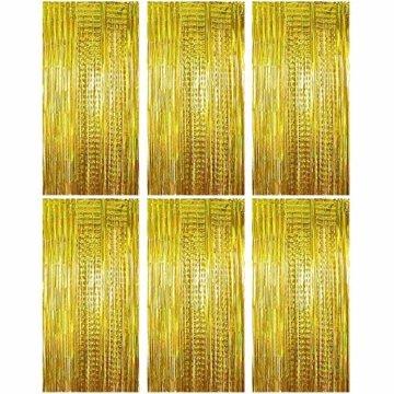 (1m x 2m) 6 stk Lametta Vorhänge Dekoration Folie Vorhang Glitzer Deko Glänzende Fransenvorhang Fransen Party Hintergrund Folien Glitzervorhang Schimmer Weihnachten (Gold) - 1