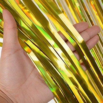 (1m x 2m) 6 stk Lametta Vorhänge Dekoration Folie Vorhang Glitzer Deko Glänzende Fransenvorhang Fransen Party Hintergrund Folien Glitzervorhang Schimmer Weihnachten (Gold) - 6