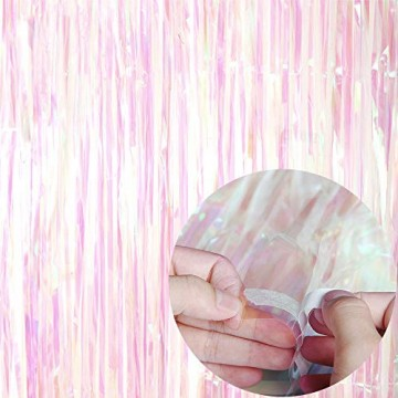 2 Pack 1*2,45m Metallic Lametta Vorhänge mit 6 Stücke Deko Spiralen Girlande,Folie Vorhang Fransen Vorhänge,Lametta Vorhänge Dekoration für Weihnachten Geburtstag Hochzeit Hintergrund Photo - 2